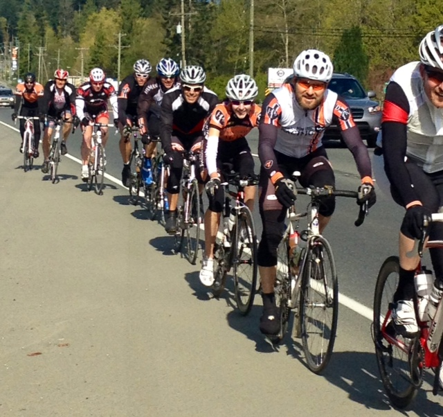 Parksville 180 shot of team riding together in 2013
