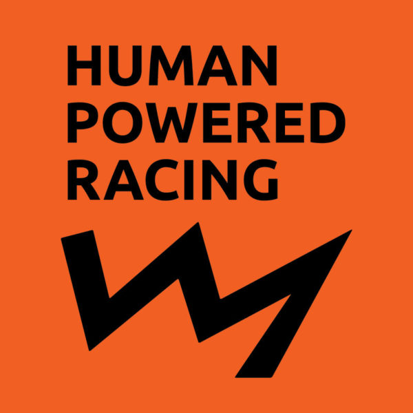Square logo for Human Powered Racing with orange background
