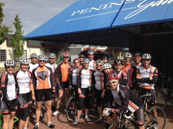 Group shot of people on bikes at Sidney B.C. bakery