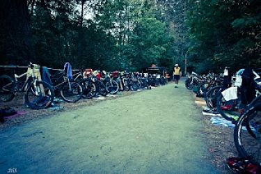 A long shot of the transition area of XTERRA Victoria in 2012