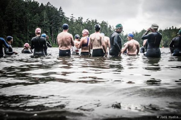 Swimmers waiting to start the 2013 Metchosin Triathlon in Matheson Lake