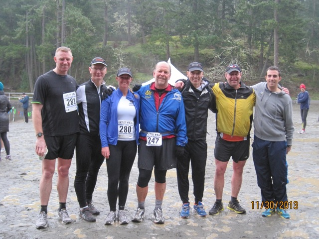 Human Powered Racing Athletes standing at edge of Thetis Lake after the 2013 Gunner Shaw Trail Run