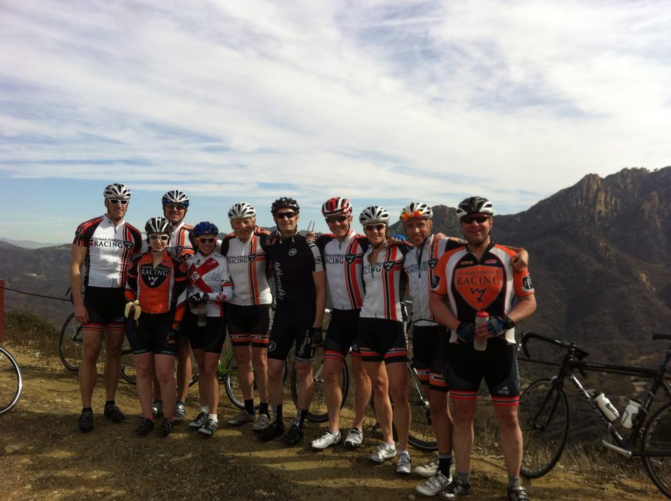 Athletes standing at the top of Piuma Climb during the 2014 HPR california Camp