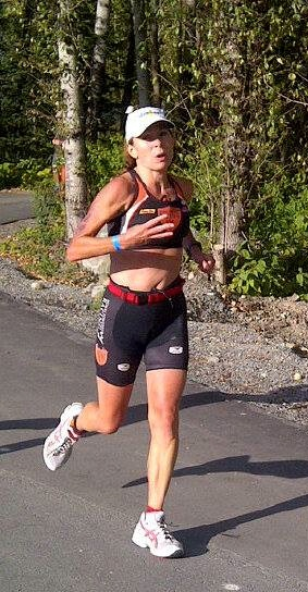 Monique Moore on the run at Ironman Canada Whistler in 2013
