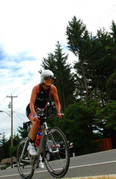 Mo Riding Bike at the Victoria 70.3 in June