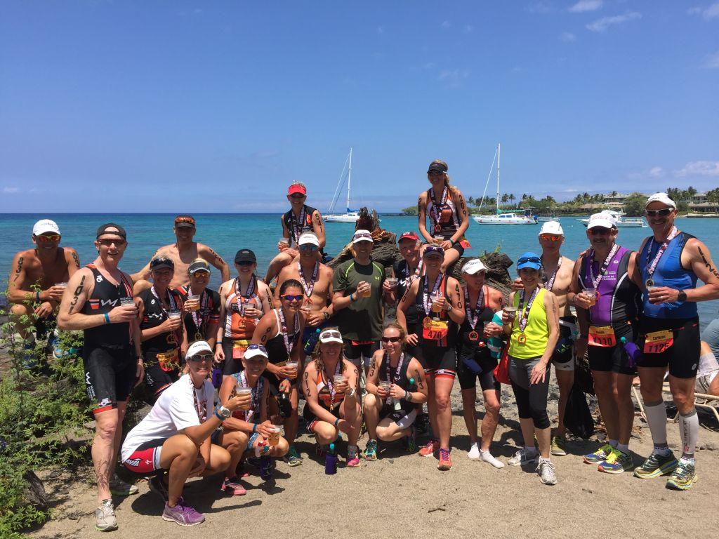 HPR Athletes at the finish of the Lavaman Triathlon at A Bay.