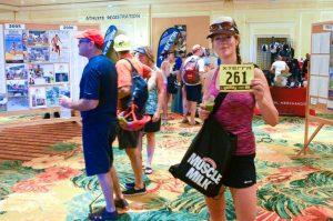 Jodi Mucha picking up race number for XTERRA Trail Run