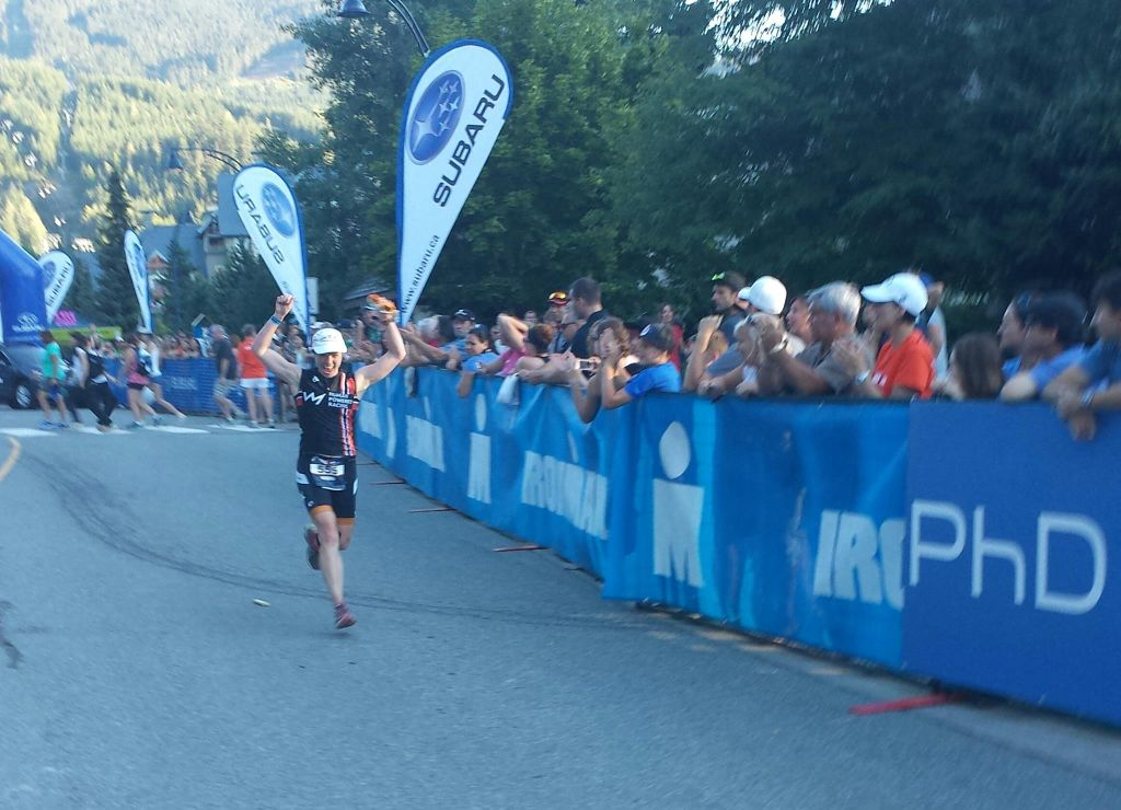 Robin Dunkley finishing Ironman Canada Whistler