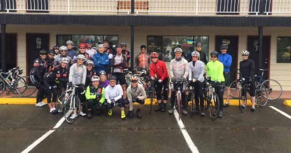 Parksville 360 riders gather for a picture before heading out on day two of the Human Powered Racing Parksville 360