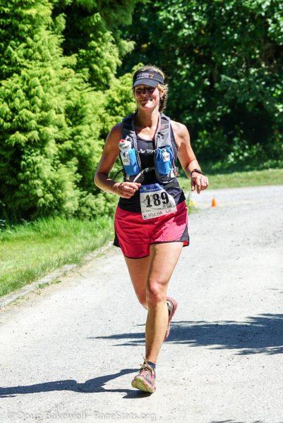 Jodi Mucha racing the Mt. Tzouhalem Gusbuster 13km trail run on May 7th, 2016