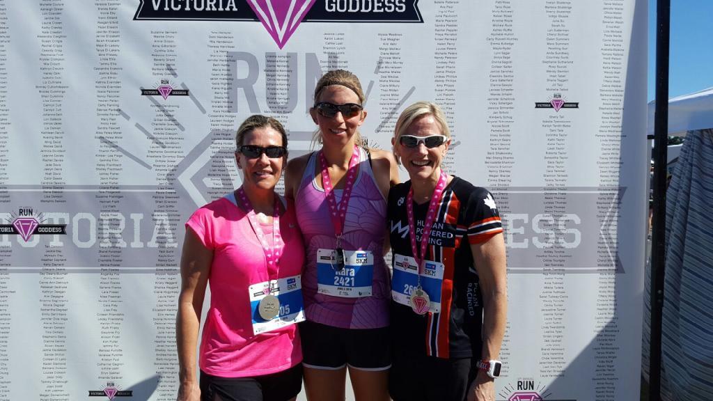 Sandy Wilson, Kara Hobby and Nadine Naughton at the finish of the Goddess 5k race