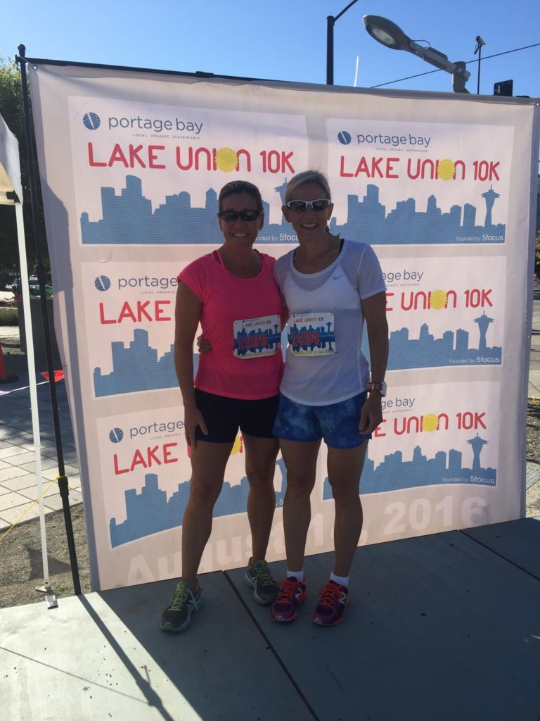Sandy Wilson and Nadine Naughton at the finish of the Lake Union 10k in Seattle