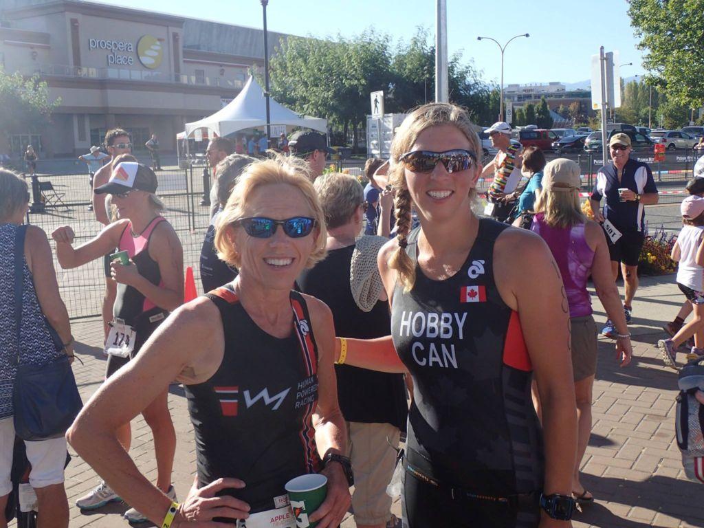 Nancy and Kara at the finish of the Apple Sprint Triathlon in Kelowna BC