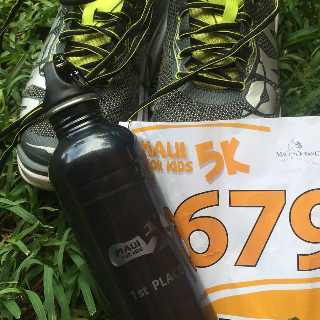 Jay Krieger's Race Number and running shoes from the Maui 5k