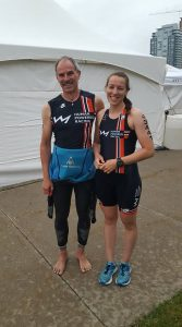 Barb Rober and David Carleton all smiles before the 2017 National Triathlon Championship in Ottawa