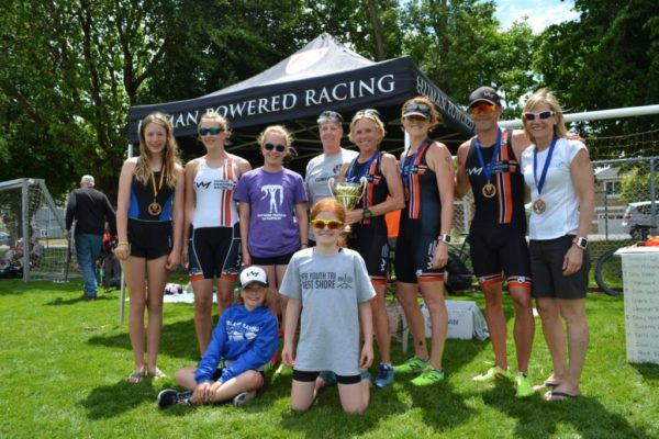 Human Powered Racing athletes at the 2017 awards ceremony of the Triathlon of Compassion