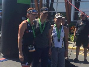 Colette Hopkins on podium in 3rd place at 2017 MEC Sprint Triathlon