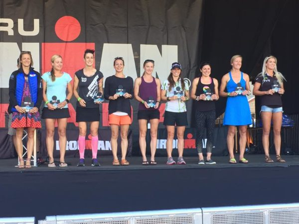 Fawn Whiting on Stage in 5th place at Ironman Canada Whistler 2017
