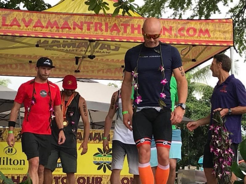 Jay Krieger getting his award at the Lavaman Triathlon 2018