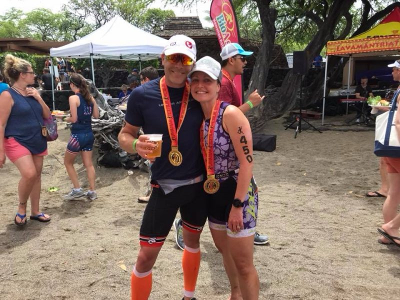 Jay and Emily enjoying some Kona Brewing Company Beer post race at Lavaman