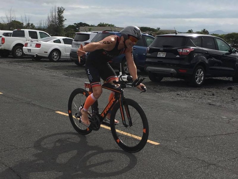 Jay Krieger flying on the bike at the Lavaman Triathlon 2018
