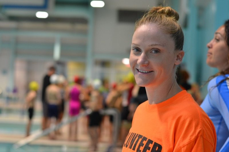 Fawn Whiting helps out on the pool deck for Youth Triathlon Westshore 2018.