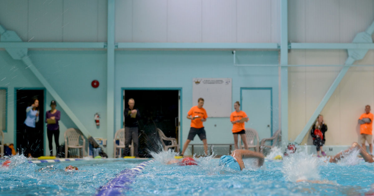 Volunteers and coaches and timers watch while the young swimmers race at the Westshore Youth Triathlon.