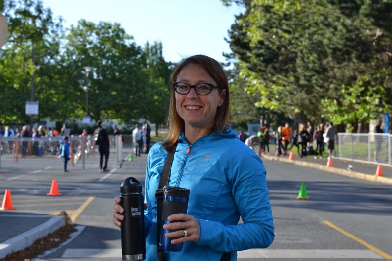 A parent in the morning of the Victoria Youth Triathlon.