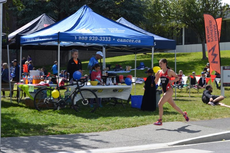 Volunteers, racers and supporters at the Victoria Youth Triathlon at UVic.