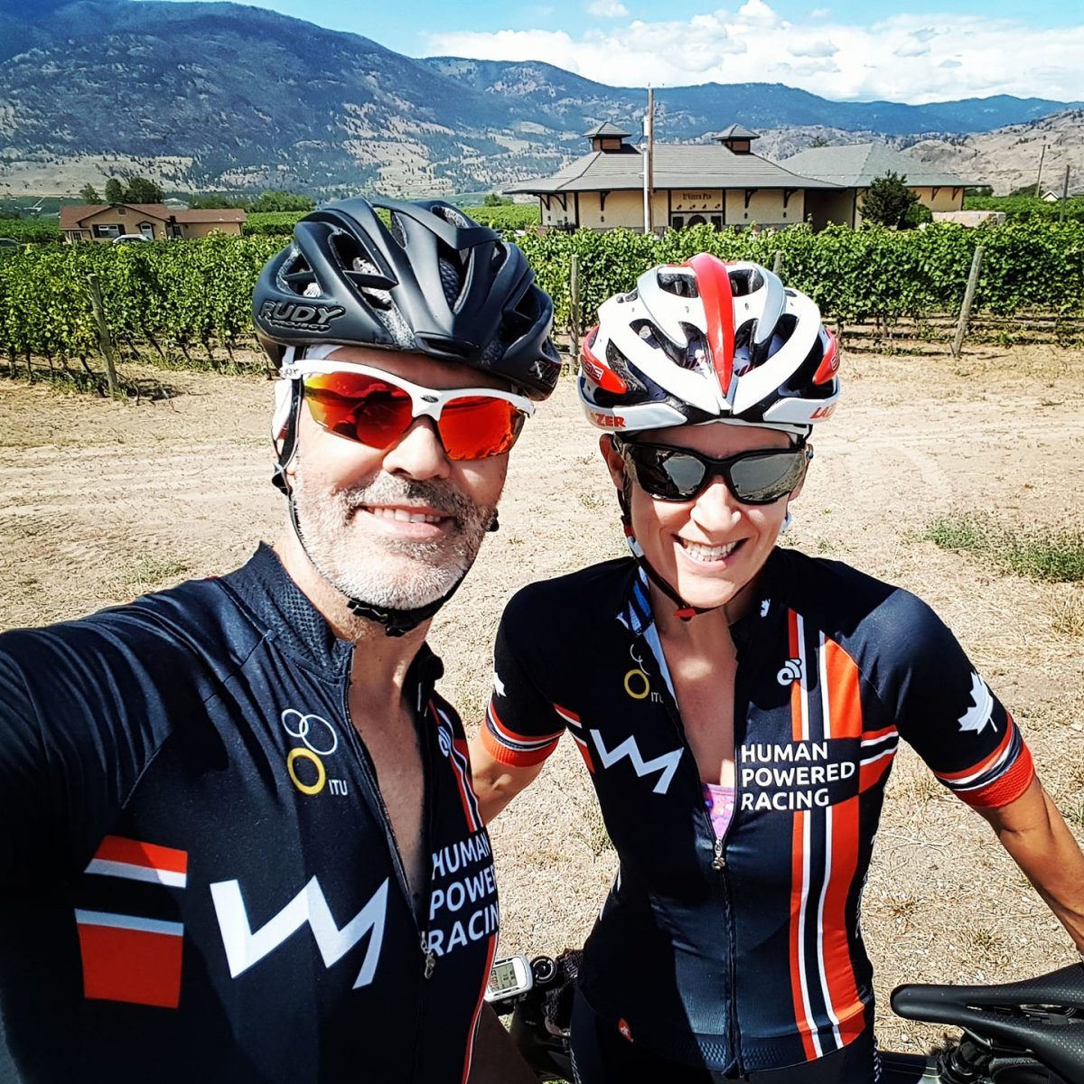 Dominic and Crystal Bergeron in Okanagan in HPR Bike Kits on ride
