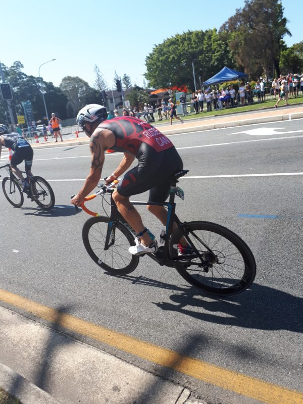 Shane Russell on the bike at the ITU World Championship Sprint race in Australia