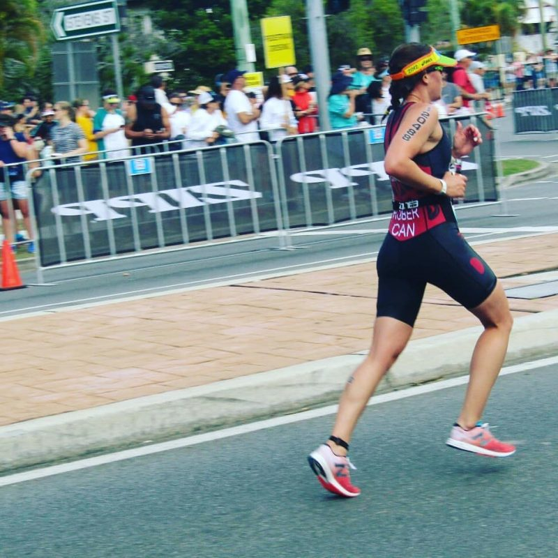 Barb Rober on the run at the ITU Triathlon World Championship in Australia