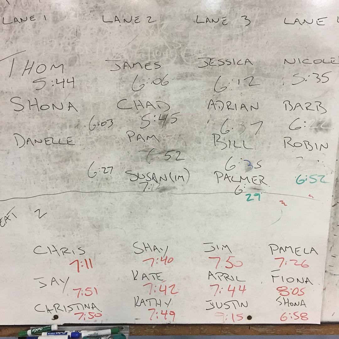 A whiteboard with black smudges all over in the background and peoples' names and times written overtop in more black marker.