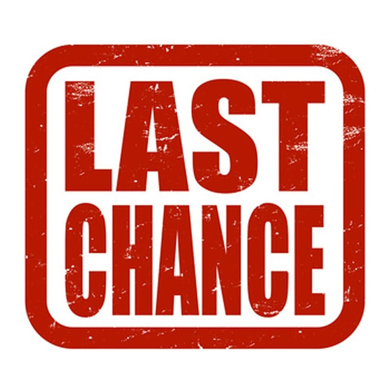 "A red stamp that says in large red block letters ""Last Change."""