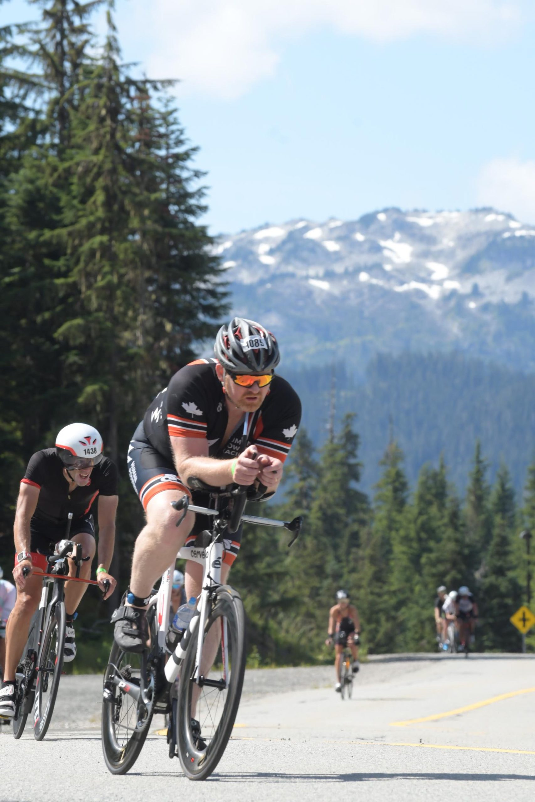 Mark Hopkins on the bike at Ironman Canada in Whistler 2019