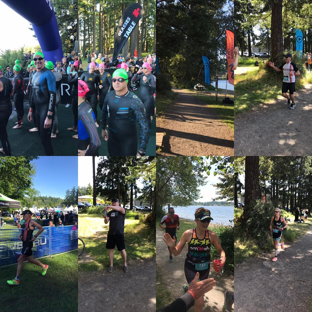 A mash-up of eight photos of people in triathlon gear training at Elk Lake.
