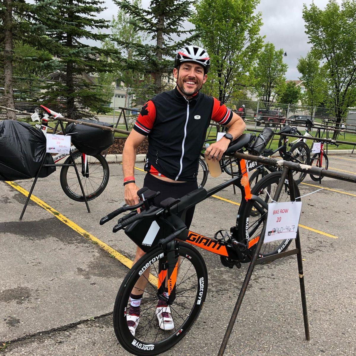 Chris Mavrikos at his bike rack at Calgary 70.3