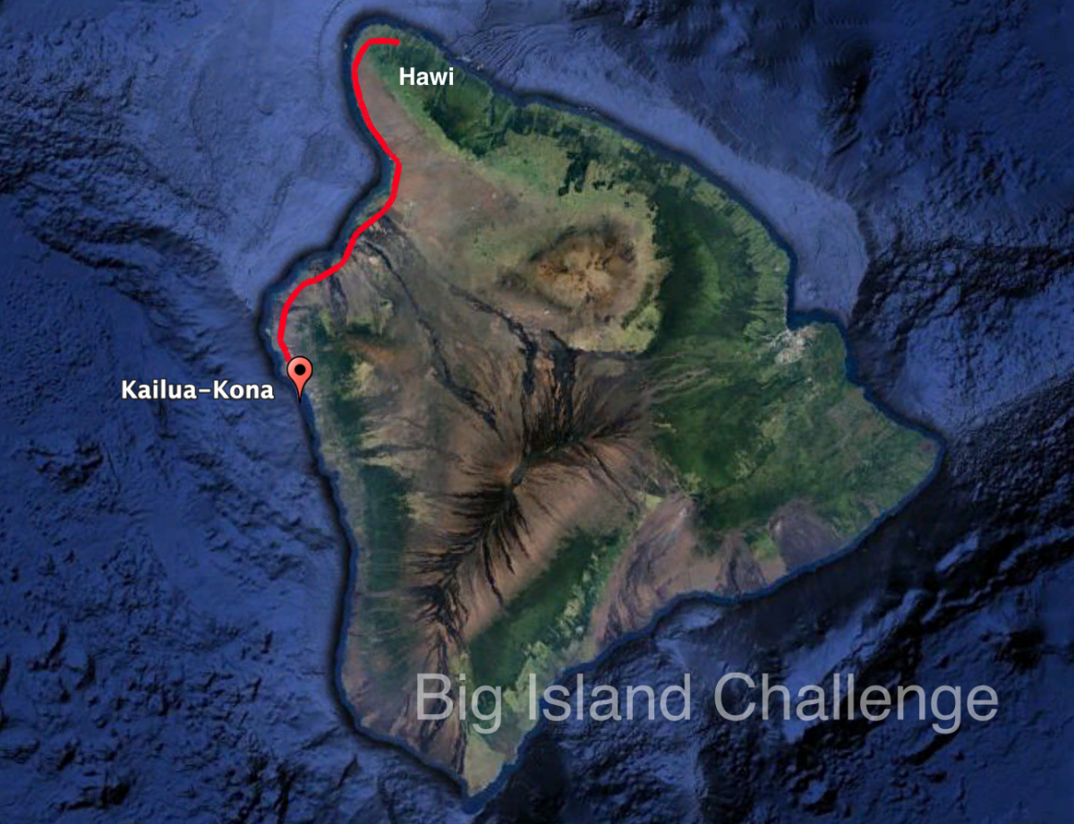 Image of the Big Island with a track from Kona to Hawi