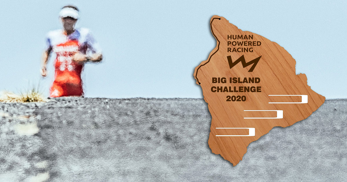 The award plaque for the Big Island Challenge with a runner in the background.