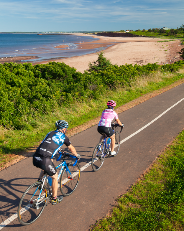 Two cyclists on a bike trail in PEI