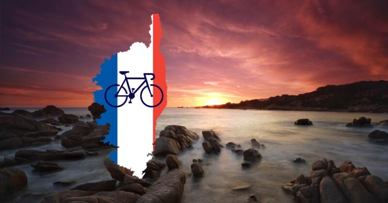 The Island of Corsica map and bike in French flag colours over a photo of the Corsica coastline.