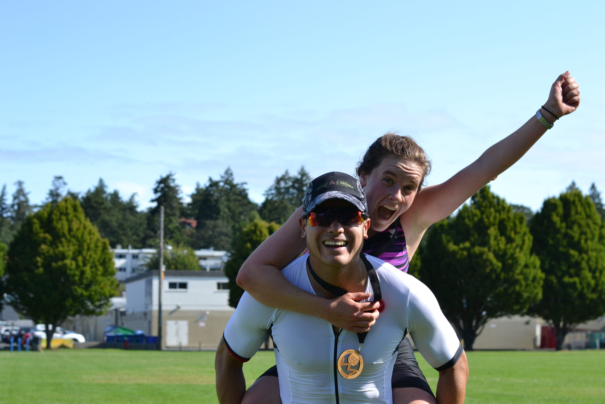 Two racers celebrate finishing an awesome race!